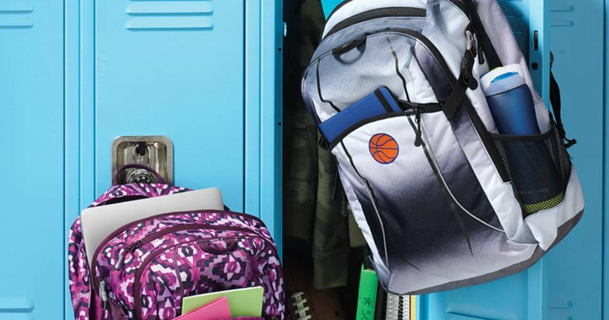 Lands' End backpacks on locker