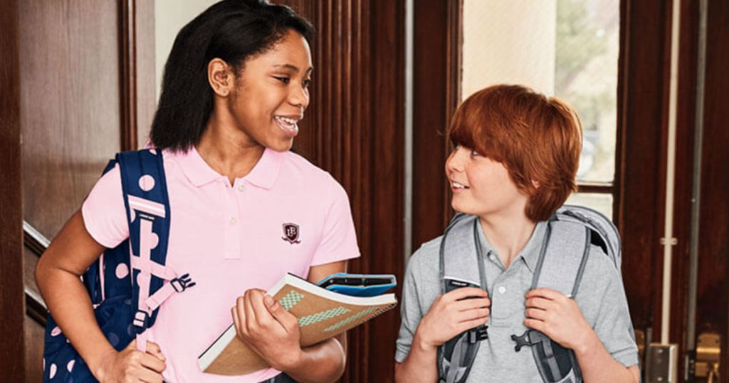 girl and boy in school wearing lands end school polos
