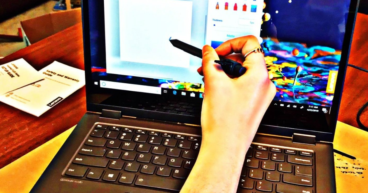 "Lenovo Flex 14"" Convertible Laptop on desk"