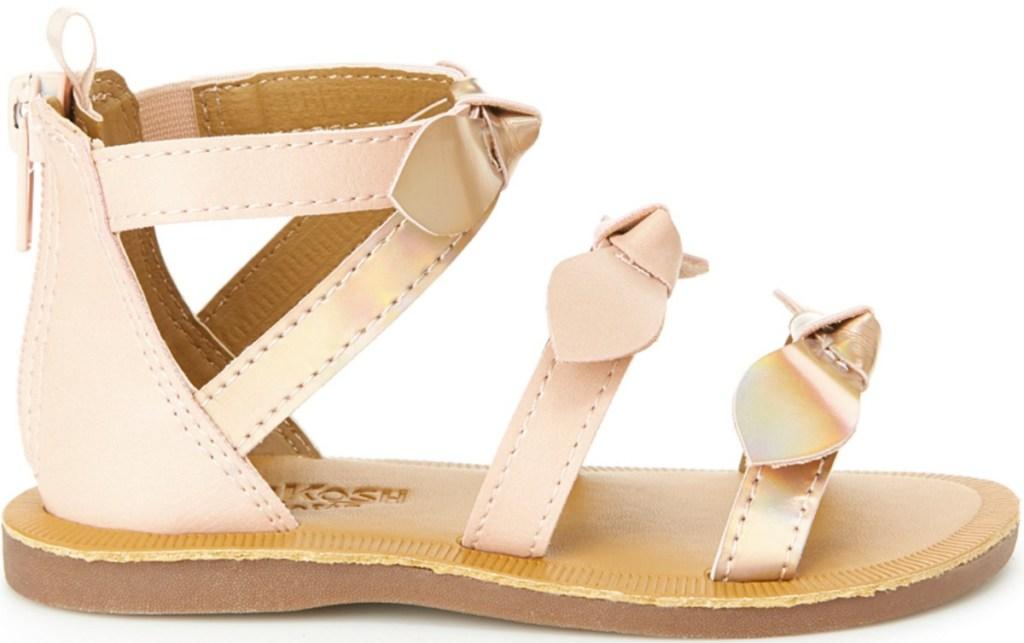 Metallic pink bow accented gladiator style girls sandal