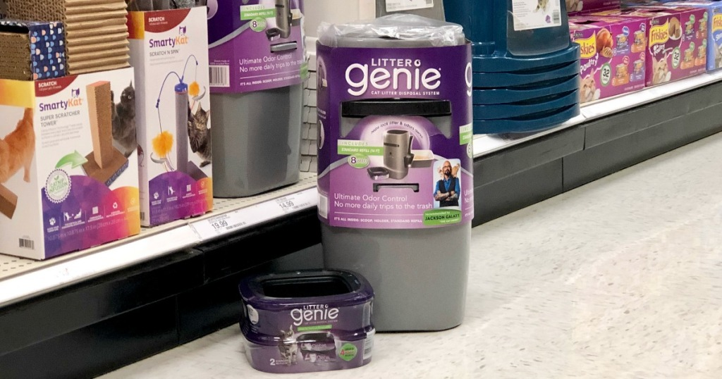 Litter Genie Pail and Refill on aisle floor at Target