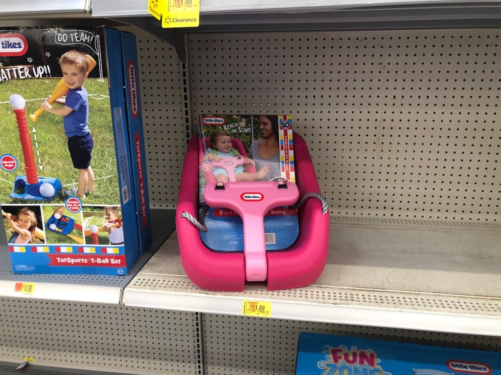Little Tikes Swing on shelf at Walmart