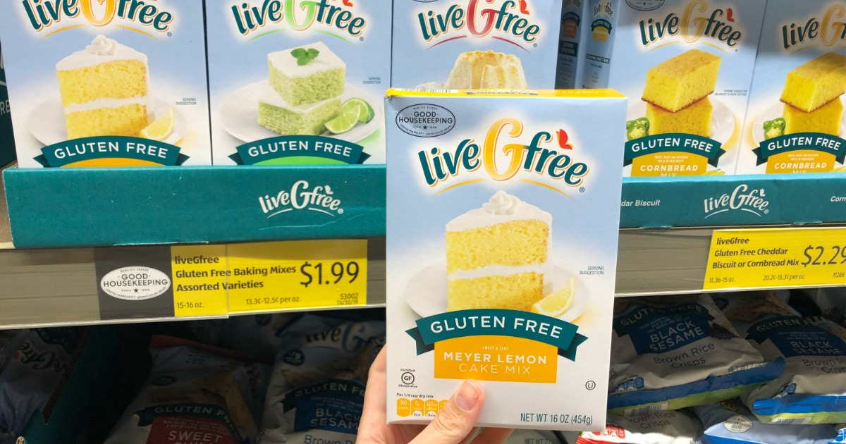 Woman holding LiveGfree Gluten-Free Baking Mix at ALDI