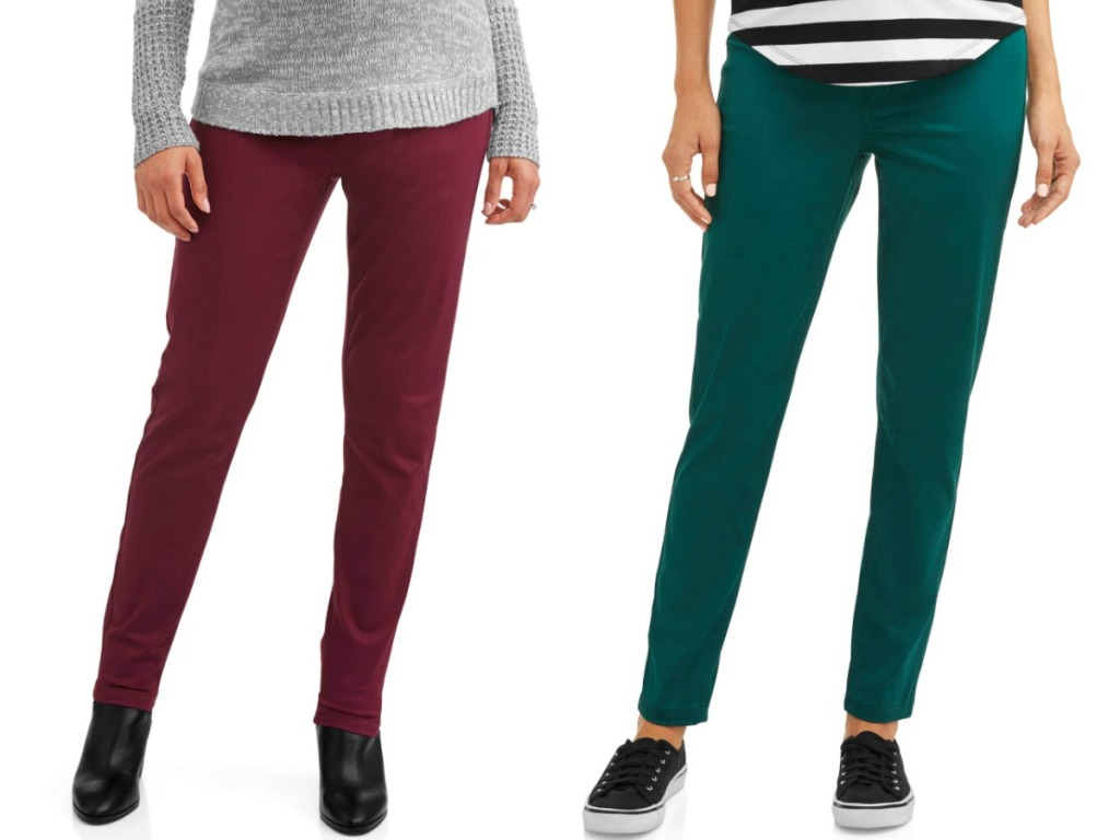 red and green maternity pants