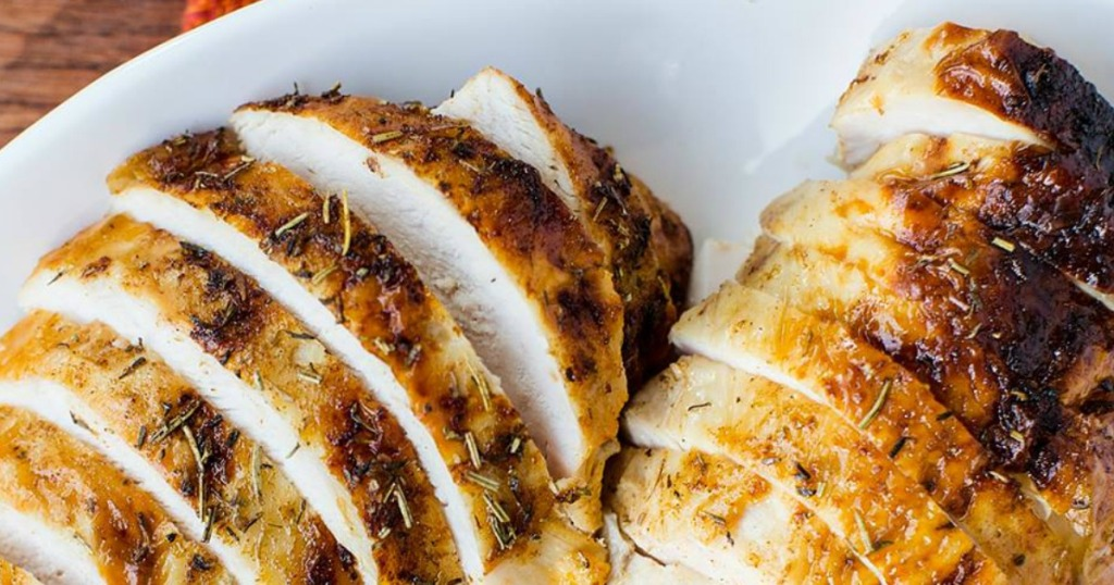 Chicken grilled and cut on a plate
