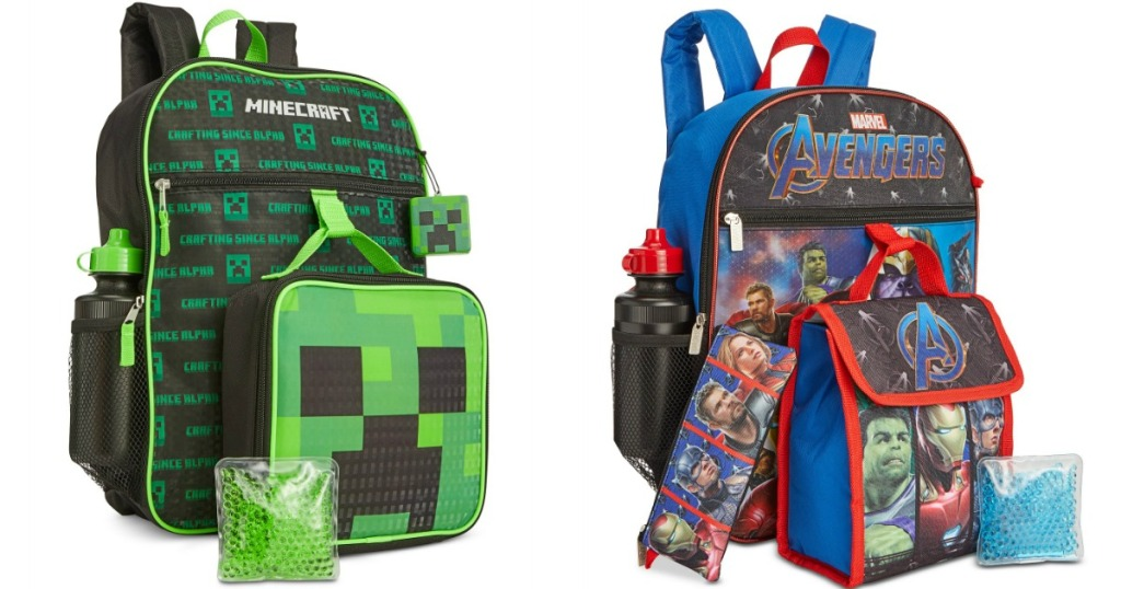 Macy's Boys 5 piece backpack sets in Minecraft and Avengers