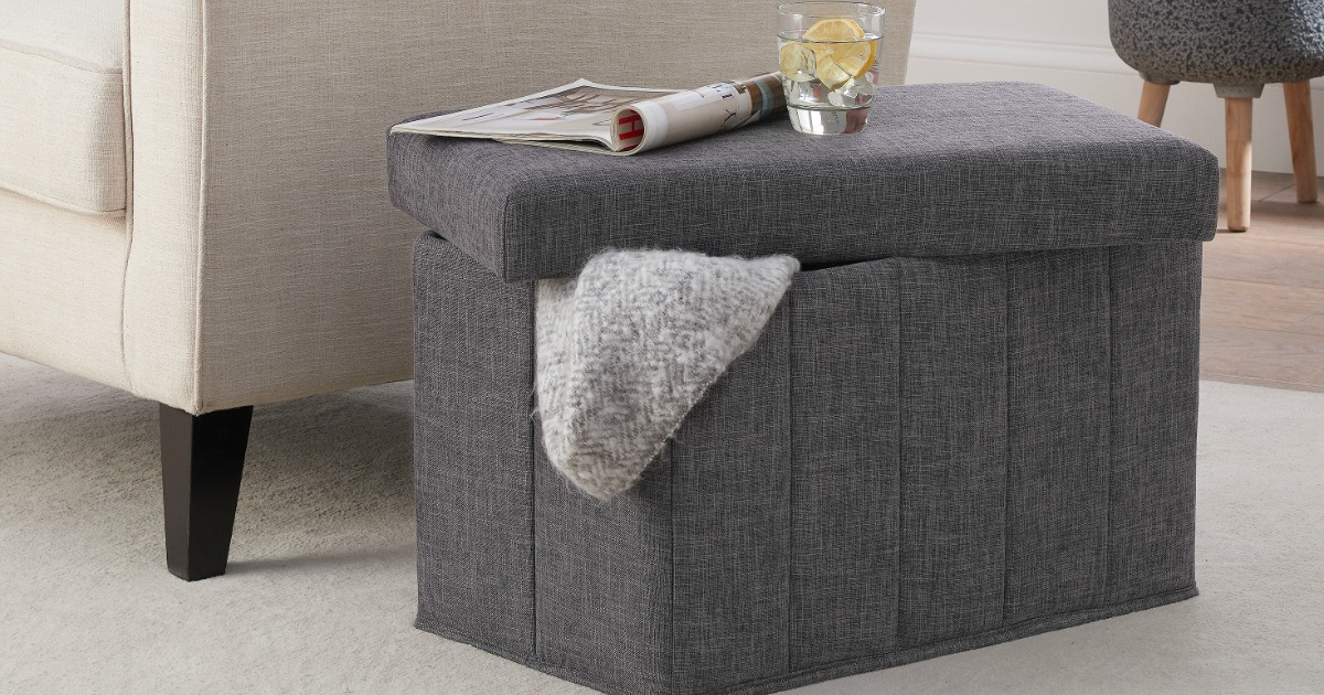 Mainstays Collapsible Storage Ottoman Only $16.82 (Regularly $50)