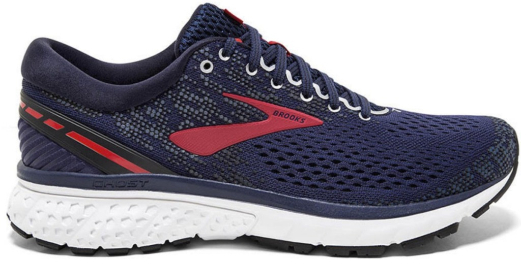 Men's running shoe in navy blue with red accents