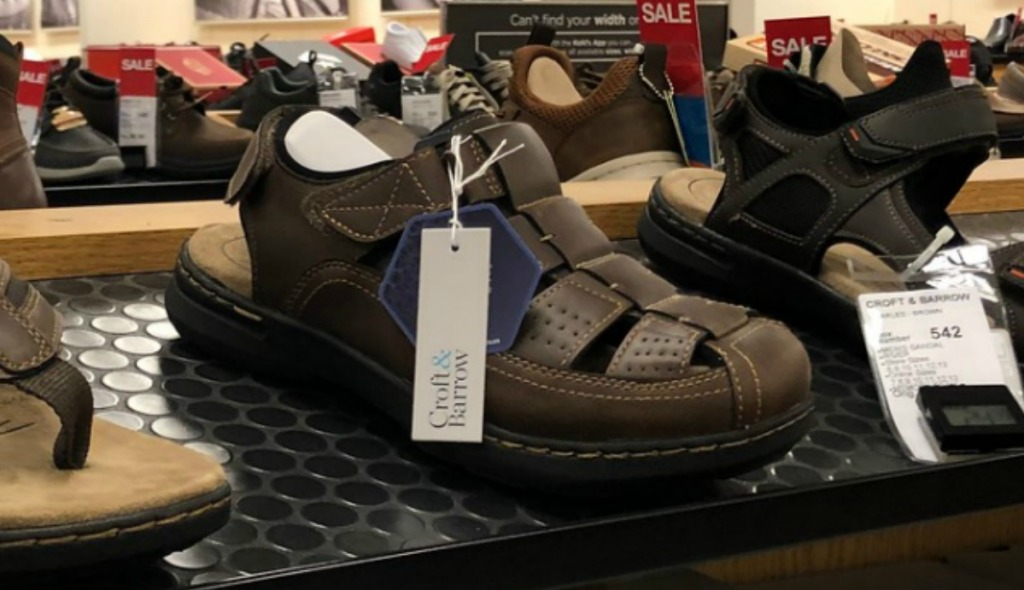 Men's sandals on display at Kohl's in shoe department