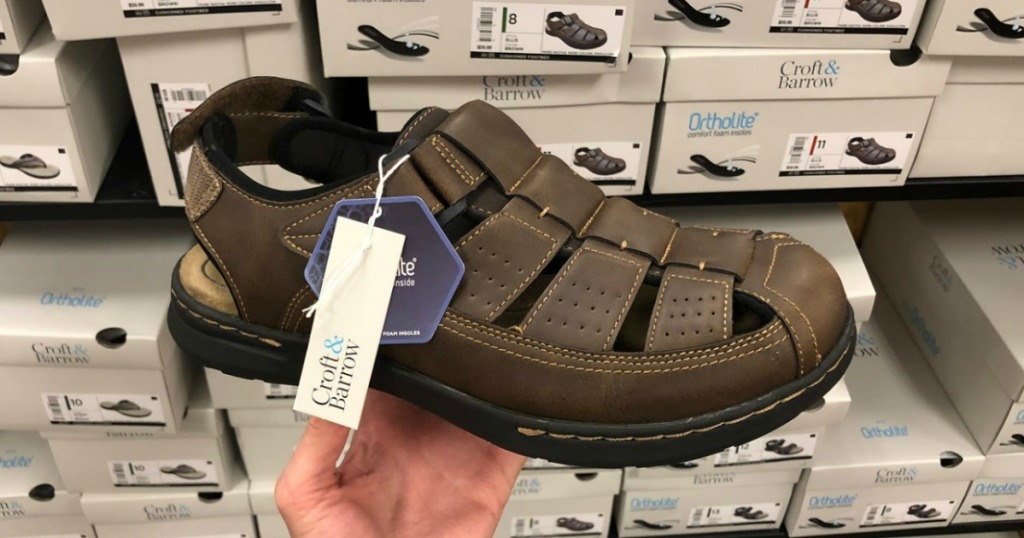 Men's brown leather sandals from Croft & Barrow in store at Kohl's
