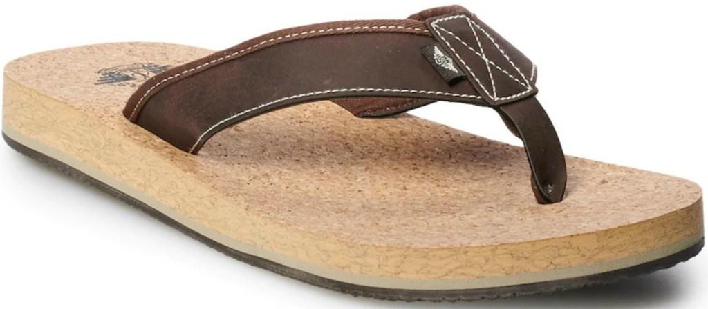 Men's flip flops in brown with a cork bottom