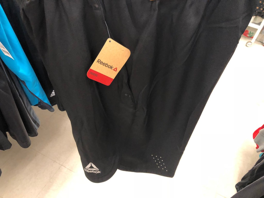black men's reebok shorts in store