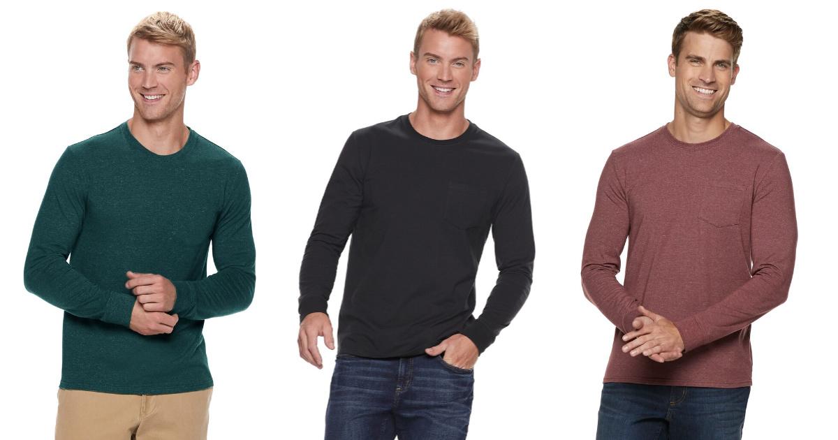 three men wearing long sleeve tees in various colors