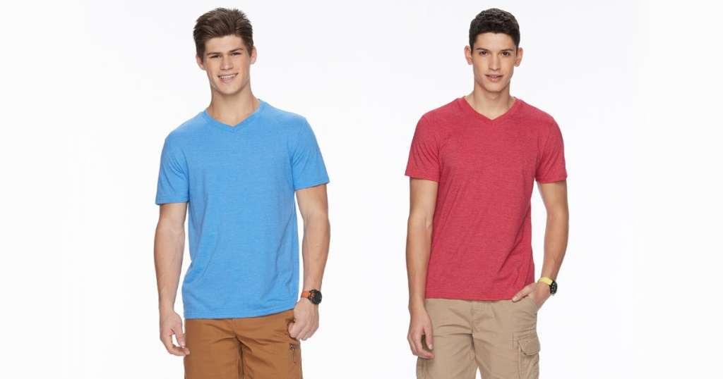 men wearing blue and red shirts