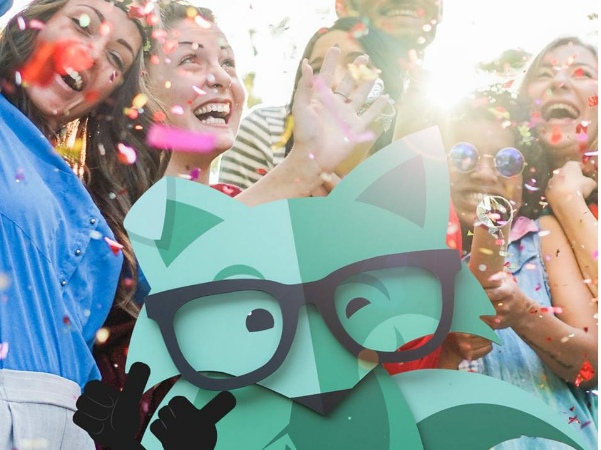Mint Mobile fox with excited people behind him and confetti