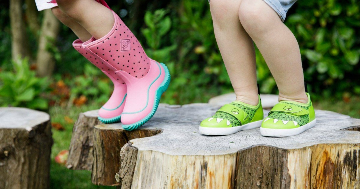 Muck Boots watermelon kids boots and gator sneakers worn by kids