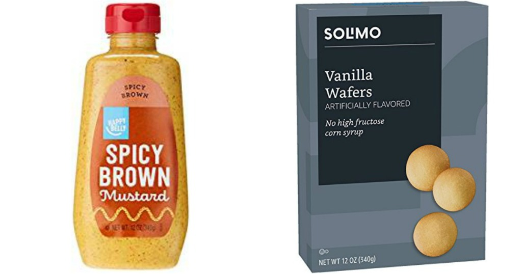 Happy Belly Mustard bottle and box of Solimo Wafers