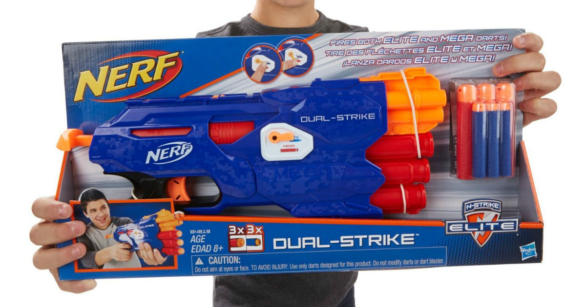 boy holding NERF N-Strike Elite Dual-Strike Blaster