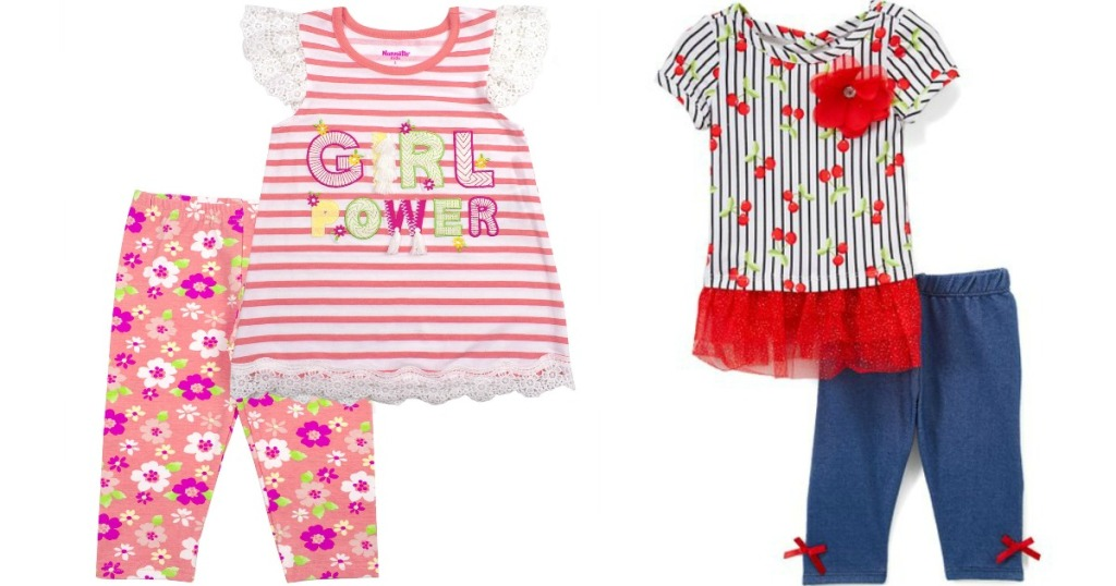 Girls matching shirt and tight sets featuring stipe & floral print or cherries with stripes print