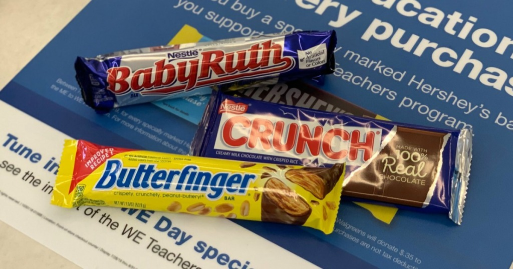 Nestle Candy Bars Singles on Walgreens counter