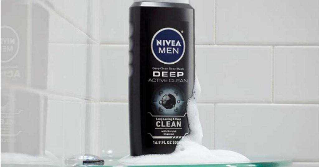 Nivea Deep Active Clean Body Wash on shower ledge