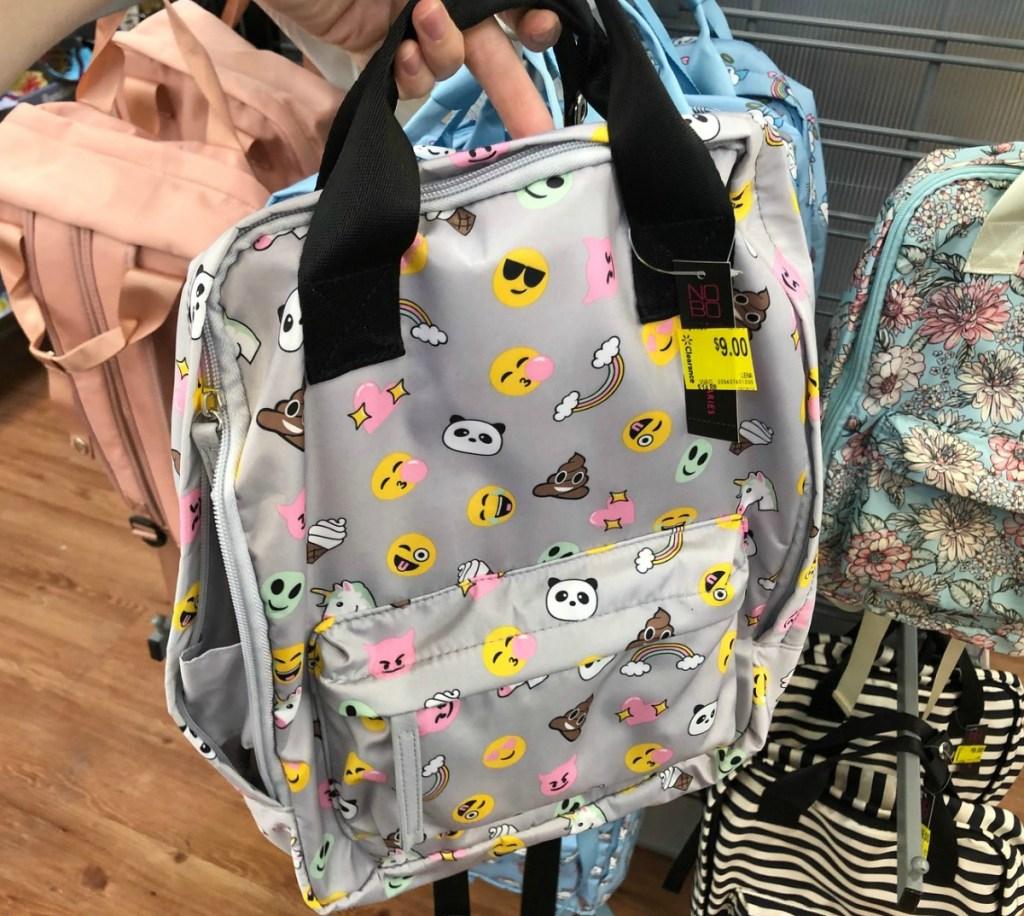 emoji-print silver backpack in store