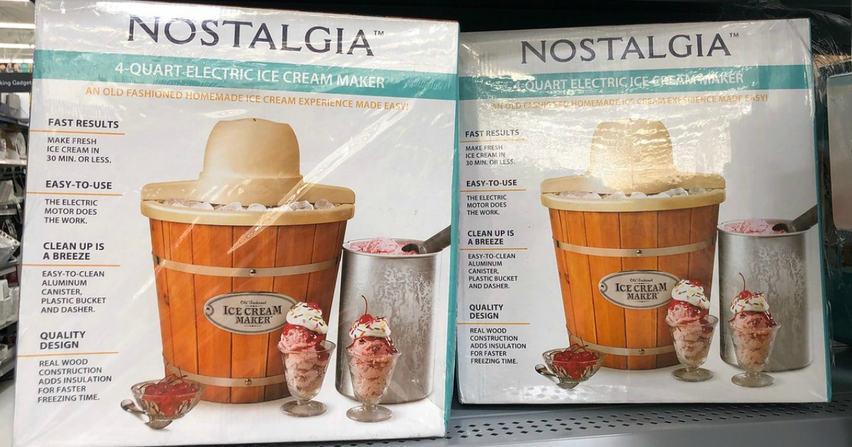 Nostalgia 4-Quart Wood Bucket Electric Ice Cream Maker on shelf at walmart
