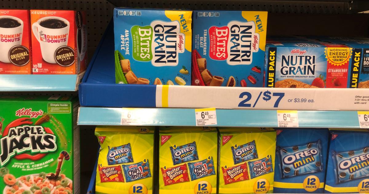 boxes of kids nutri grain bites on shelf at store
