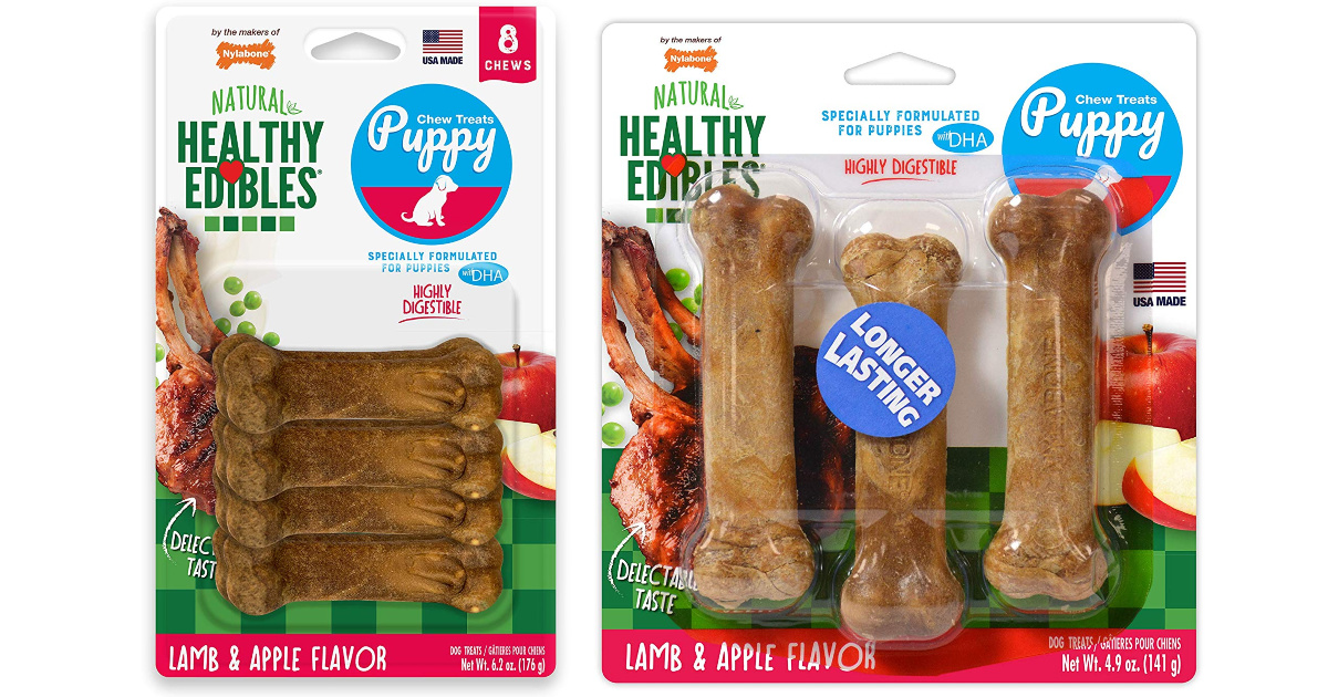 nylabone lamb & apple flavored dog treats in packages