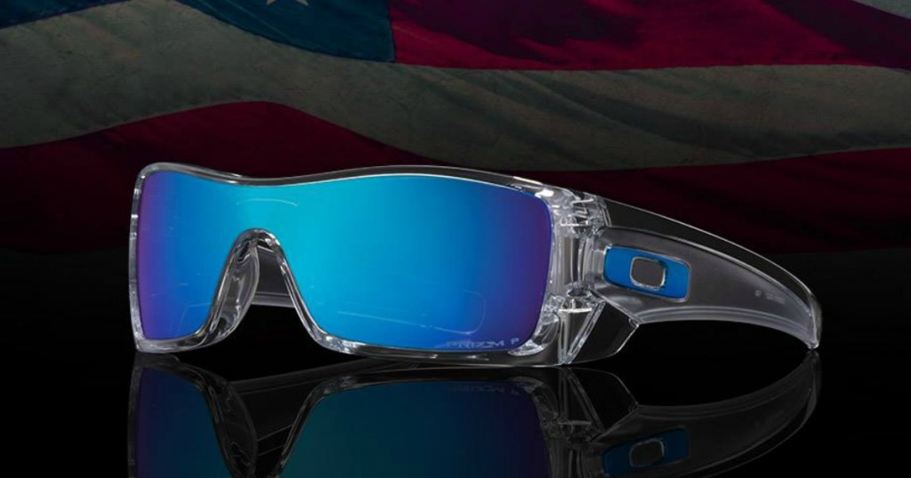 Clear Oakley Brand sunglasses with blue polarized lenses