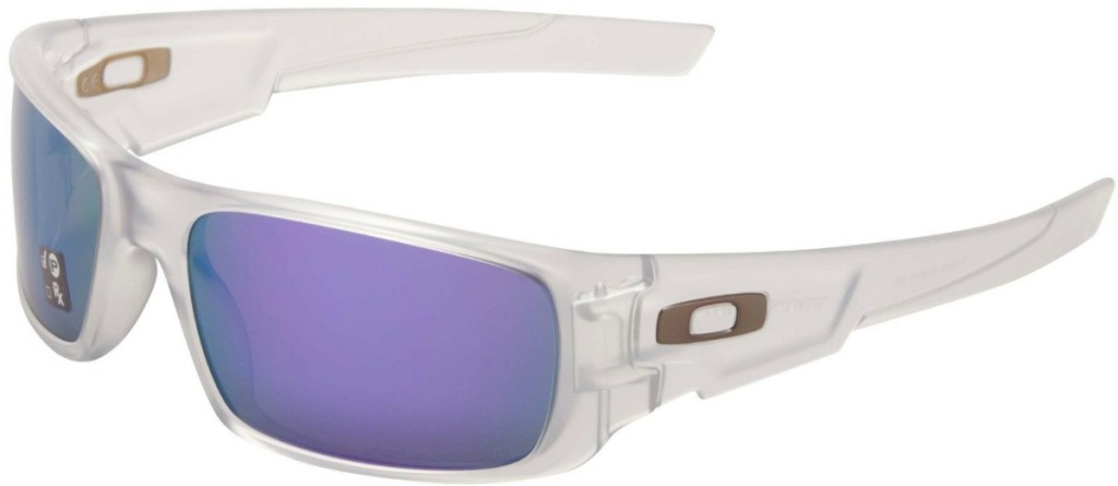 Oakley brand sunglasses in a matte clear shade with violet colored lenses