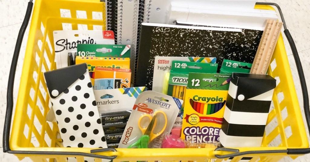 Basket full of school supplies at Office Depot