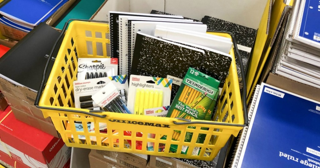 Office Depot Basket filled with school supplies