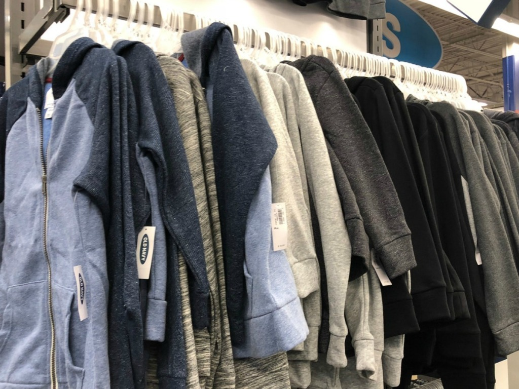Old Navy Kids Fleece Sweaters on rack in store