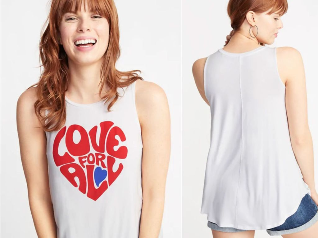 woman wearing white luxe tank saying love for all from old navy
