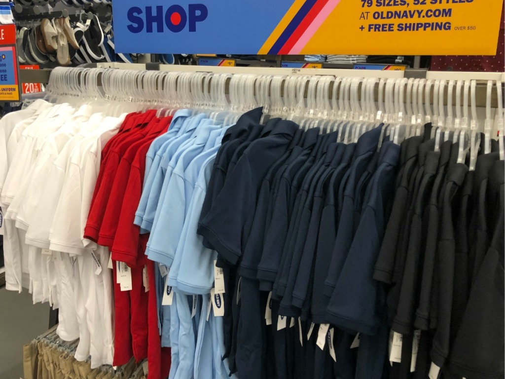 Old Navy Uniform Polos Hanging on Rack