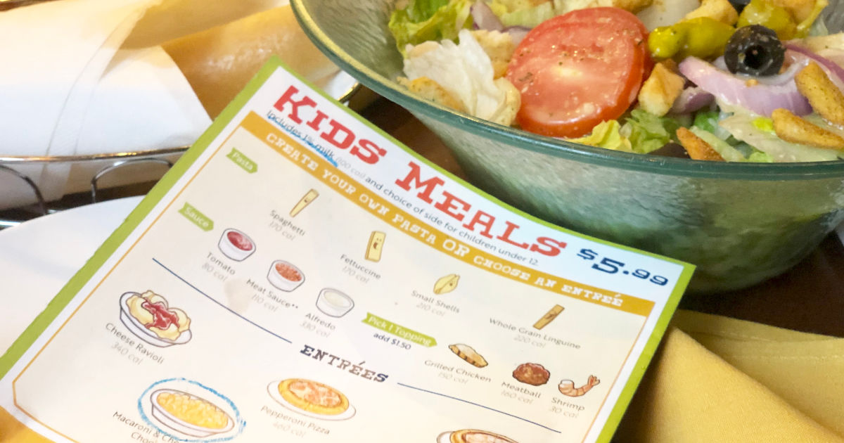 Olive Garden Kids Meal Menu with salad in store