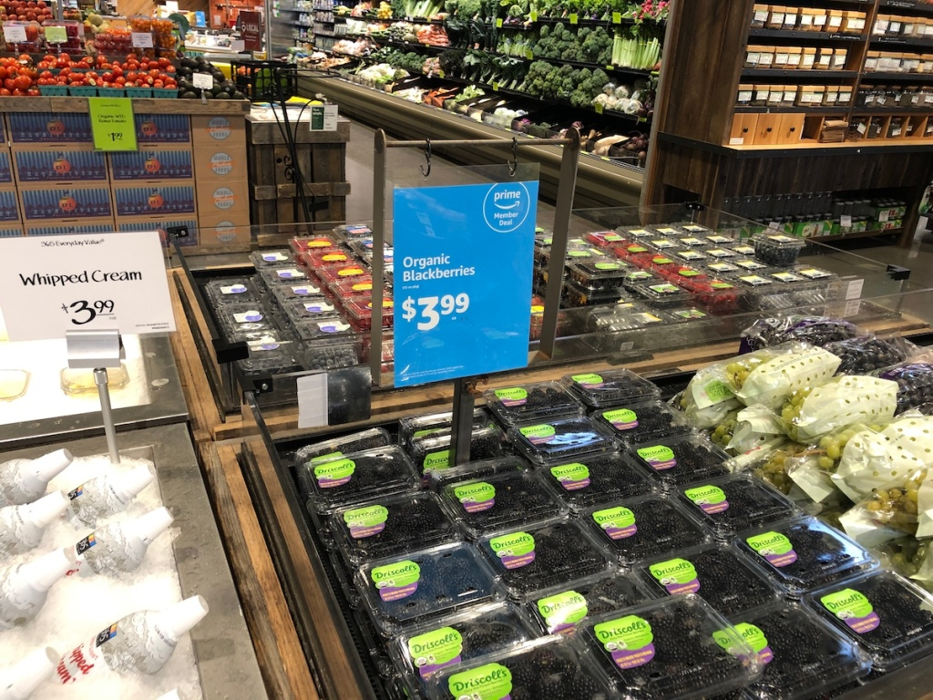 12 ounce package of organic blackberries at whole foods
