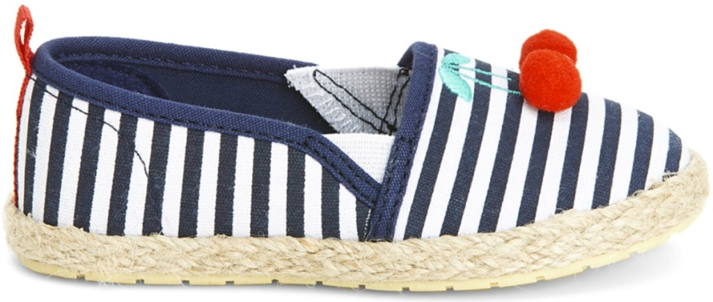 Blue and white stripped slip-on girls shoe
