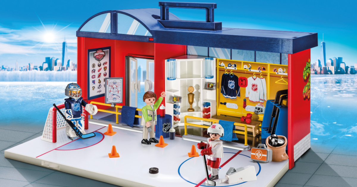 PLAYMOBIL NHL Take Along Arena opened up with players on ice
