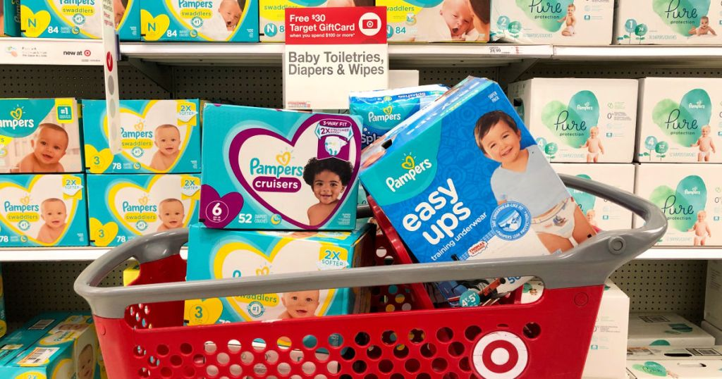 Cart of Pampers in a Target cart with sale sign