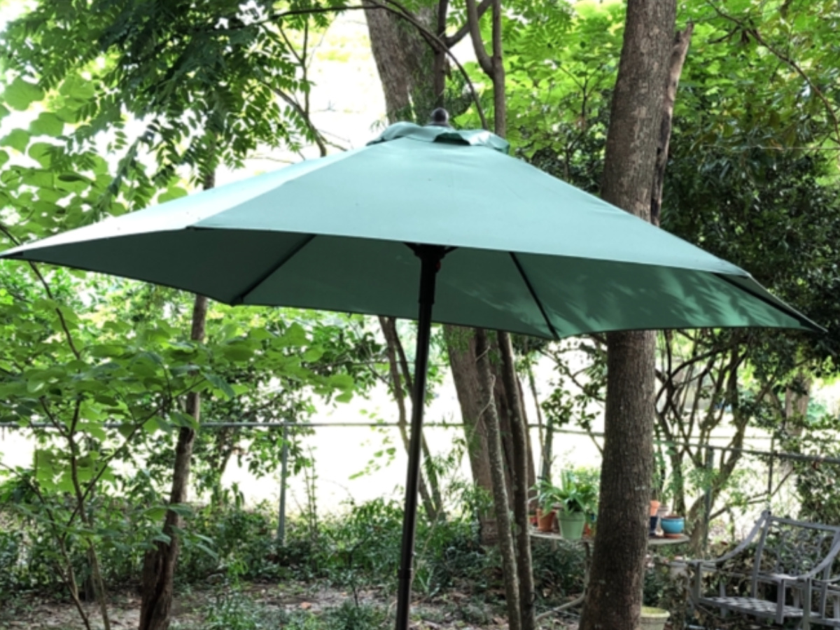 teal patio umbrella in a backyard from Pier 1