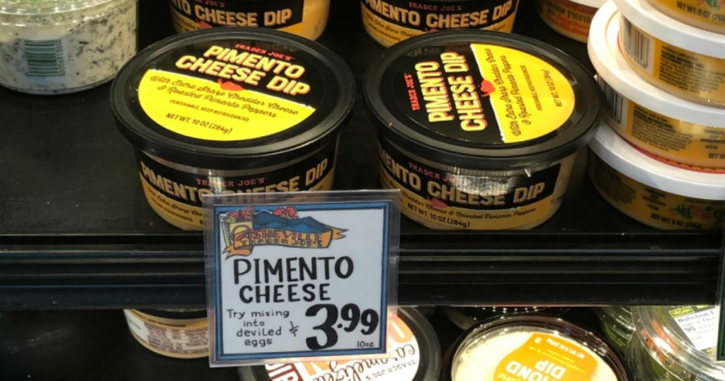 Trader Joe's Pimento Cheese Dip on store shelf with price tag
