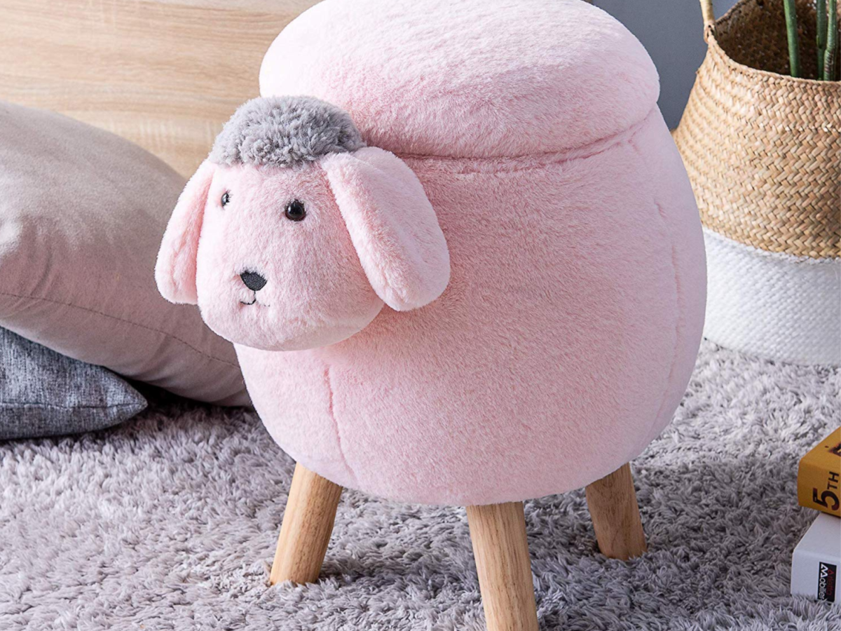 Pink Sheep Animal Storage Ottoman Footrest Stool in room on shaggy purple carpet