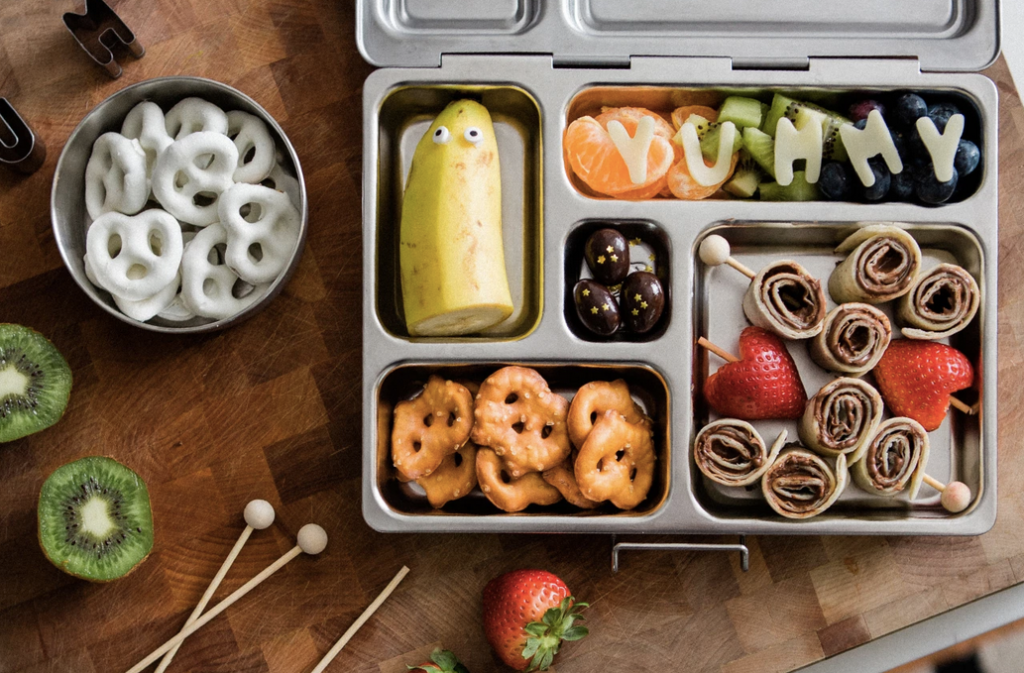 PlanetBox stainless steel lunchbox filled with Halloween themed food items