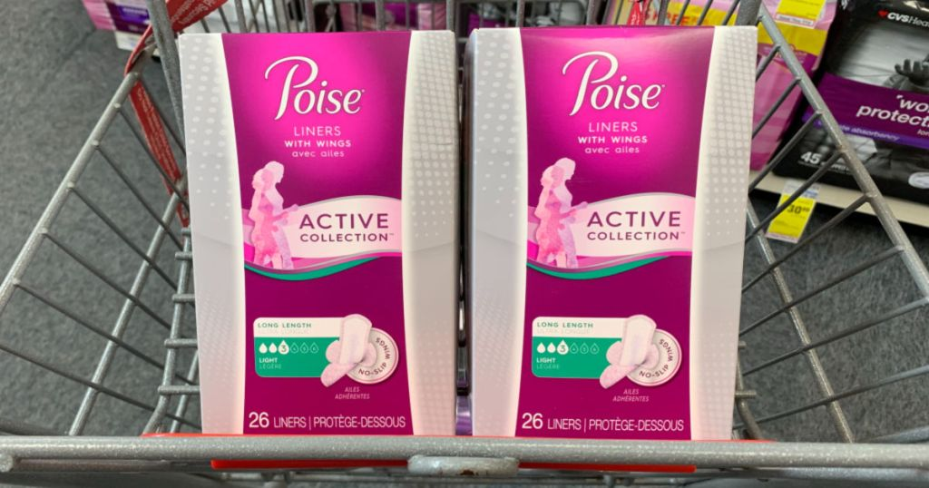 two packs of poise pads in cvs cart