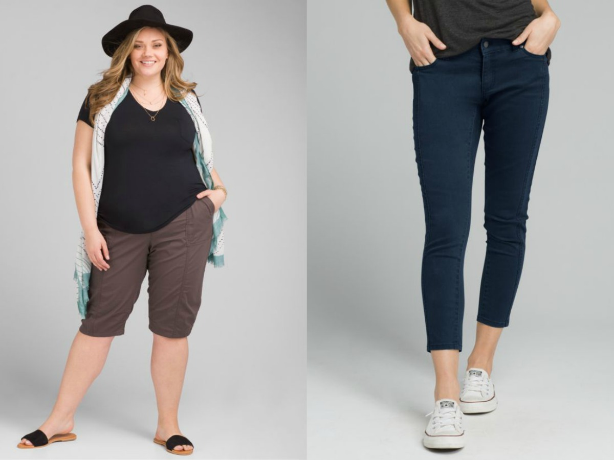 woman wearing capri pants with hat and vest, and woman wearing crop pants