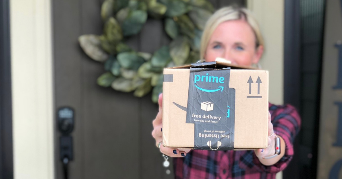 amazon prime box in woman's hands