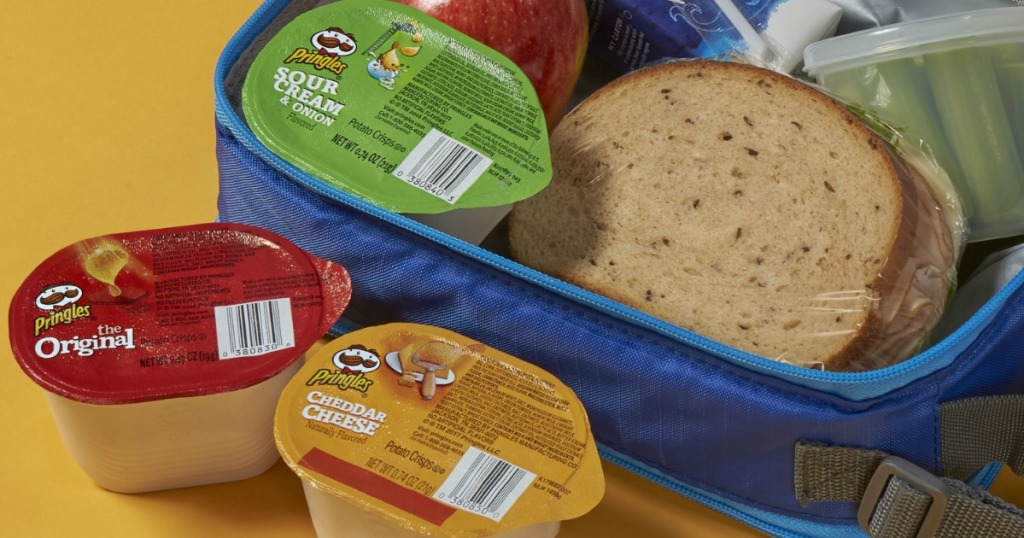 Pringles cups in lunchbox with sandwich