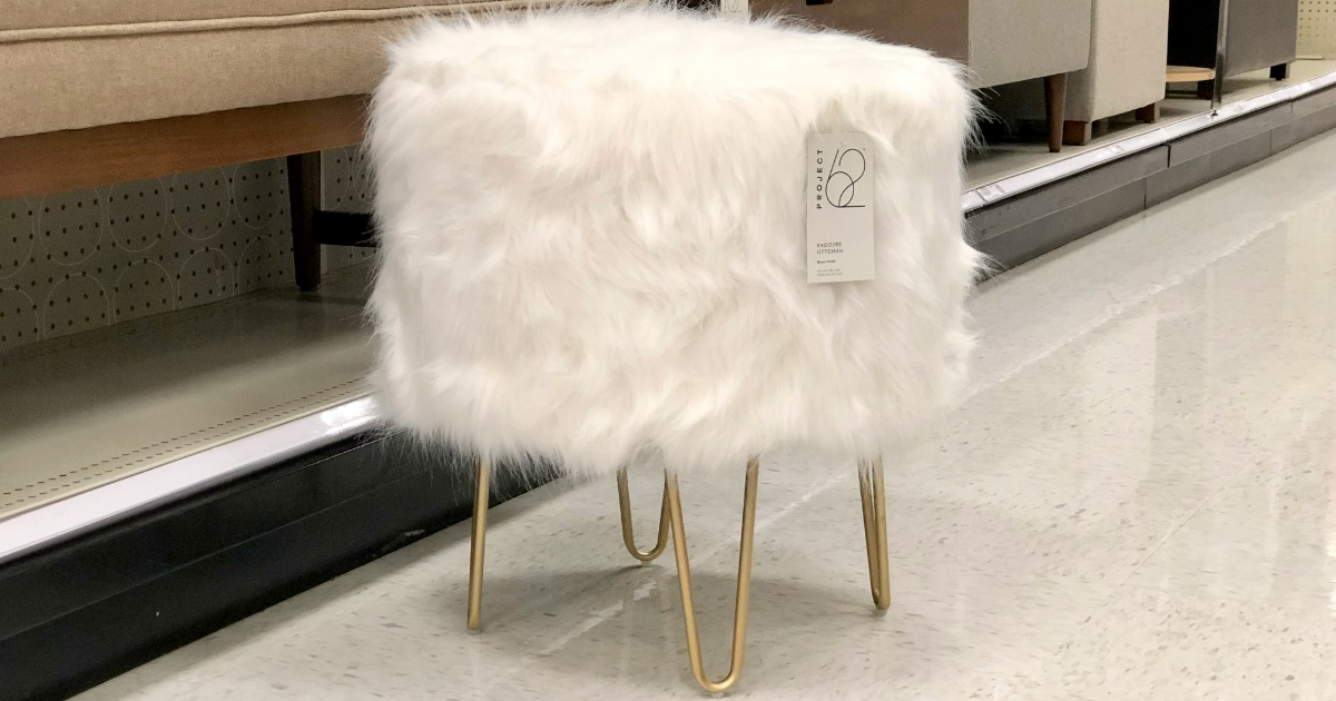 Project 62 Furry ottoman with golden wire legs